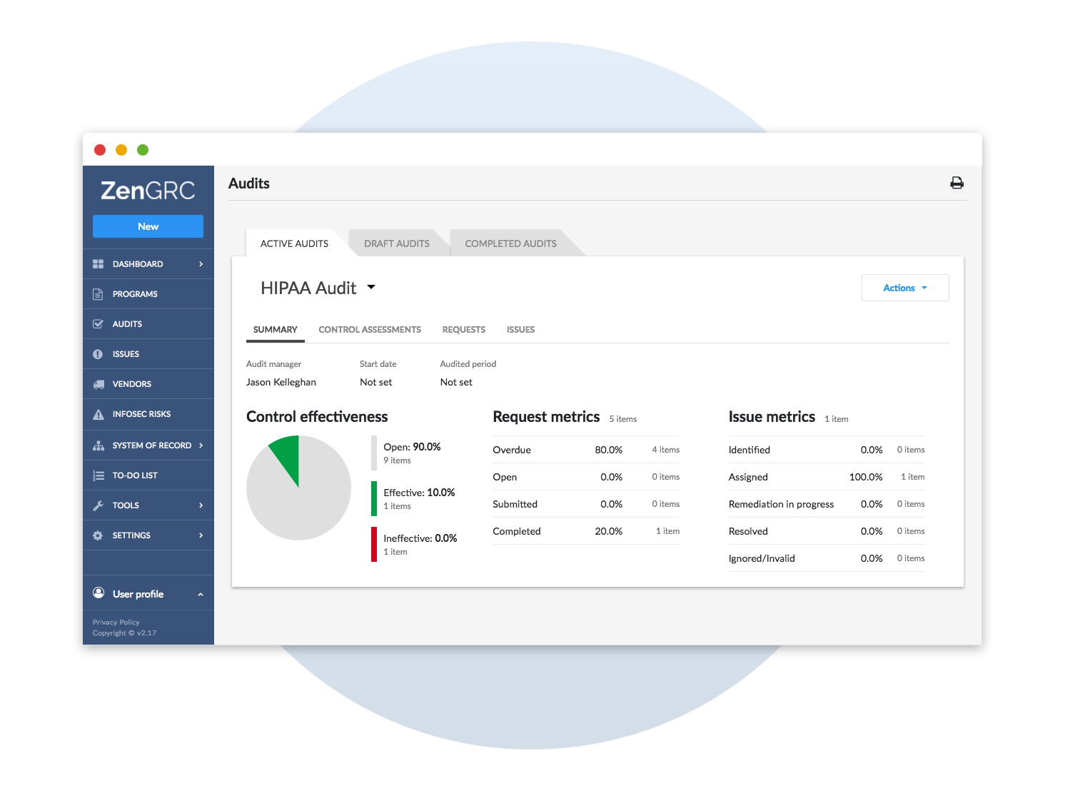 HIPAA audit dashboard