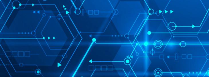 digital line pattern on blue background