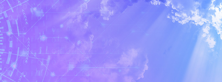 purple to blue gradient sky with technology iconography transitioning to clouds