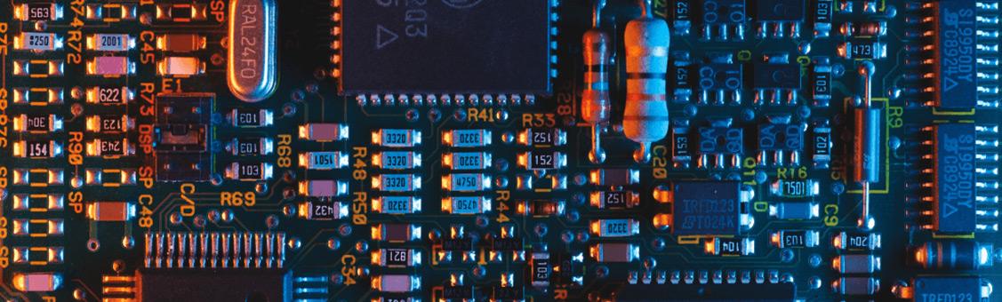 closeup of an electronic circuit board